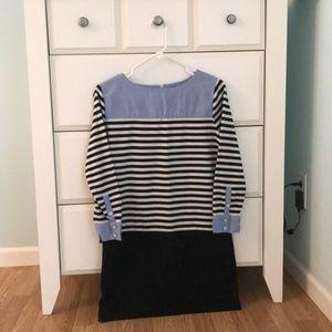 Loft Mixed Media Striped Shirt Dress